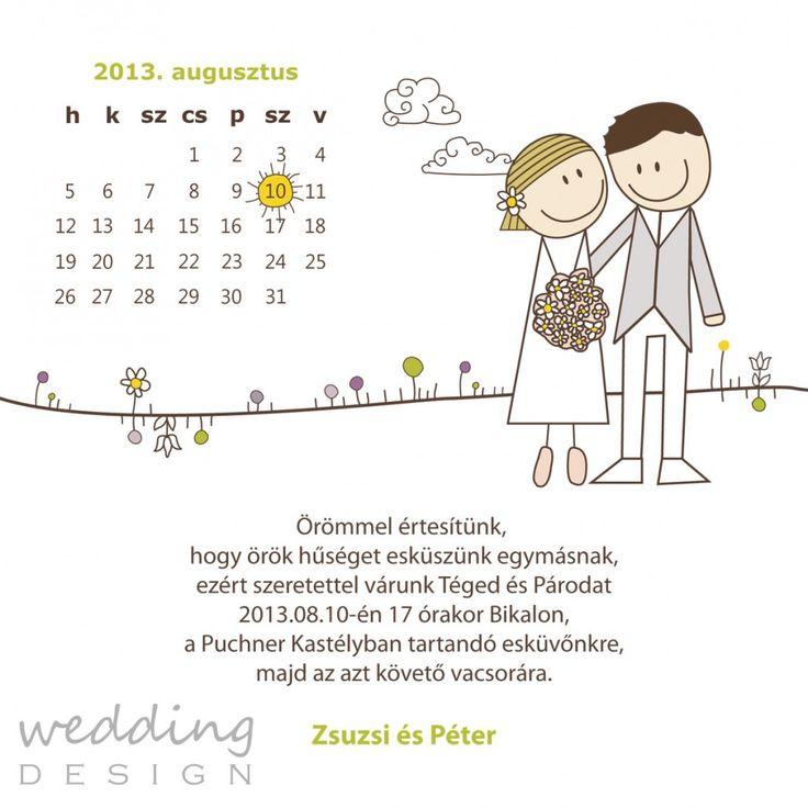 Naptáras, egyedi rajzos vicces esküvői meghívó
