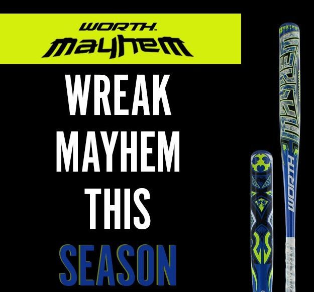 Wreak Mayhem with Worth softball bats. Shop for this one-piece, alloy design that is approved for play in all associations!