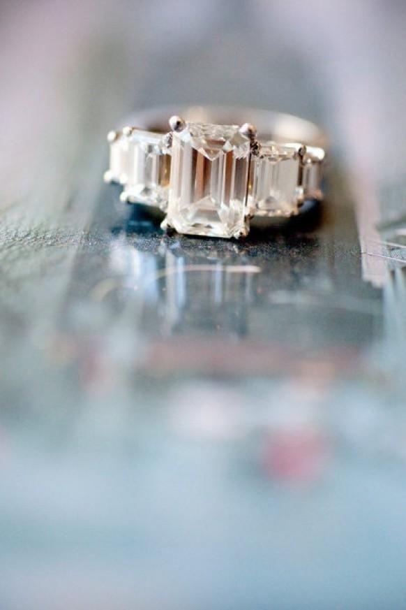 The dream engagement ring Tri stone Emerald cut diamond ring