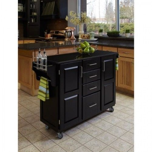 Kitchen Island Cart Black Granite Top Solid Wood Storage Cabinet Drawers Shelves Homestyles
