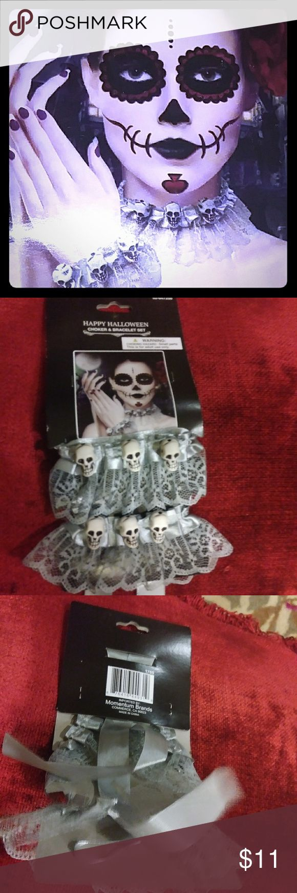 Pin lovi poe for tattoo pictures to pin on pinterest on pinterest - Bracelet Set Lace Skulls Goth Punk Halloween Boutique