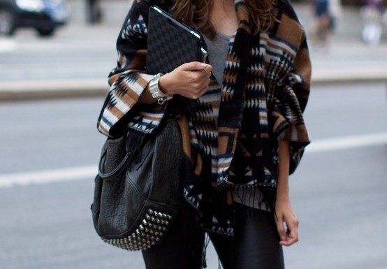 Sweaters and studsStuds, Fashion Style, Jackets, Fall Looks, Tribal Sweaters, Fall Outfit, Alexander Wang, Tribal Prints, Bags