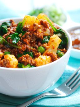 Vegetable Mince Curry (with rice) - this evening recipe