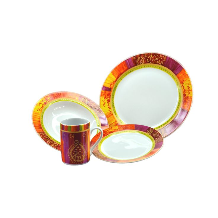 Bring bright and cheery fun to your dining room table with this pretty porcelain dinnerware set that celebrates the colors of a summer sunset. This dishwasher-safe set includes service for four people, so it's perfect for family meals.