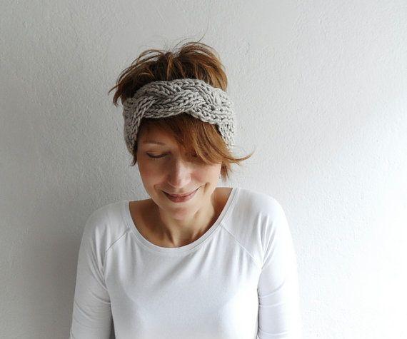Knitted Headband Chunky Headband Ear Warmer by fizzaccessory