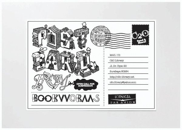 Postcard from Bookworm by butawarna, via Behance