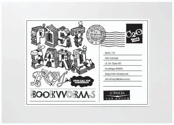 Postcard from Bookworm by butawarna, via Behance