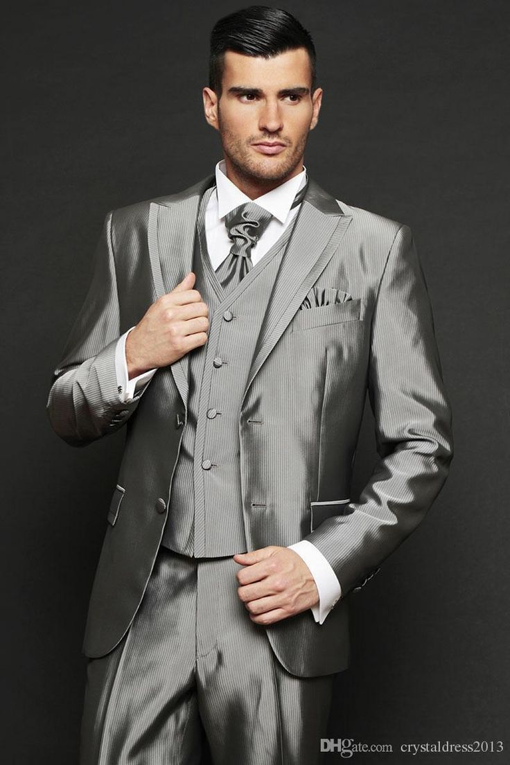 Handsome Top Selling Groom Tuxedos Silver Grey Ceremony Suit Groomsman Suit Boy'S Suit Jacket+Pants+Vest Bridegroom Suit Cheap Men Suits Clothing Mens From Crystaldress2013, $83.92| Dhgate.Com