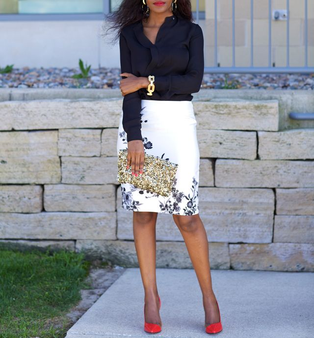 amazing pencil skirt outfits | Gold Accents: White & Black Floral skirt - JustPatience
