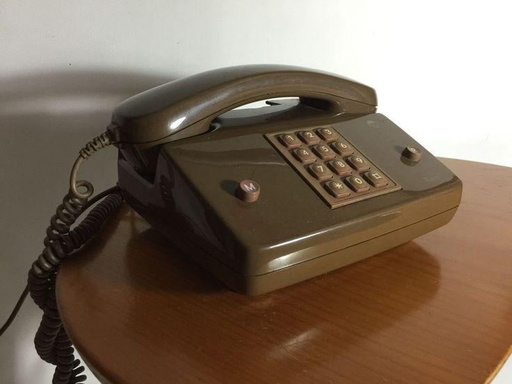 VINTAGE RETRO PUSH BUTTON TELECOM TELEPHONE PHONE MID CENTURY RARE COLOUR 1969