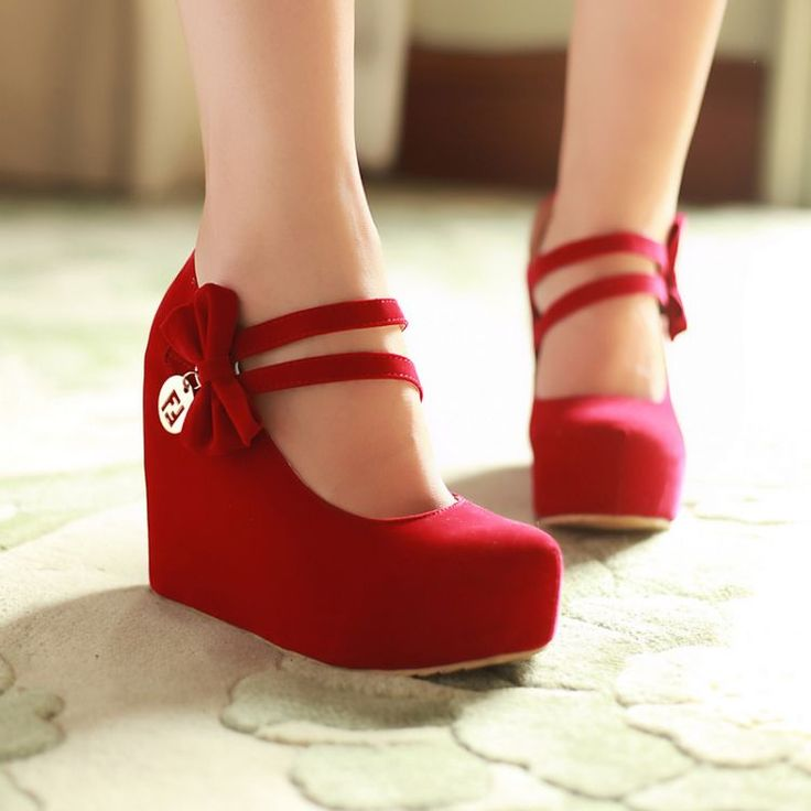 Fashion Round Toe Closed Wedges High Heel Mary Jane Red PU Pumps(US$17.49)