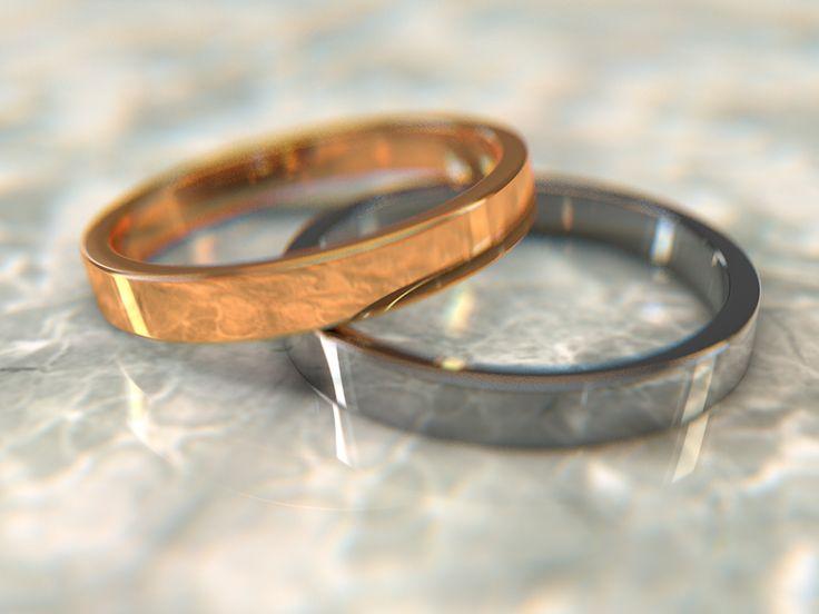 3d rings on marble