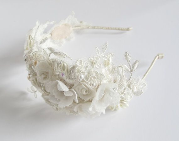 Bridal handmade lace floral headband wedding by LucyFisherDesigns