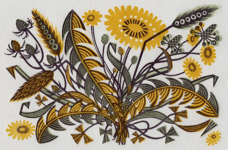 Angie Lewin - Dandelion Track I - wood engraving print