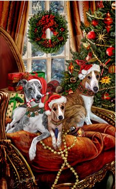 "New for 2015!   Whippet Christmas cards are 8 1/2"" x 5 1/2"" and come in packages of 12 cards. One design per package. All designs include envelopes, your personal message, and choice of greeting. Select the inside greeting of your choice from the menu below.Add your personal message to the Comments box during checkout."
