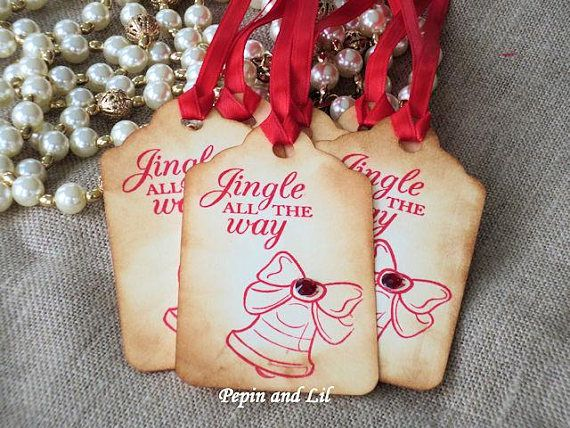 Set of 6 Jingle All the Way tags with red rhinestone Gift