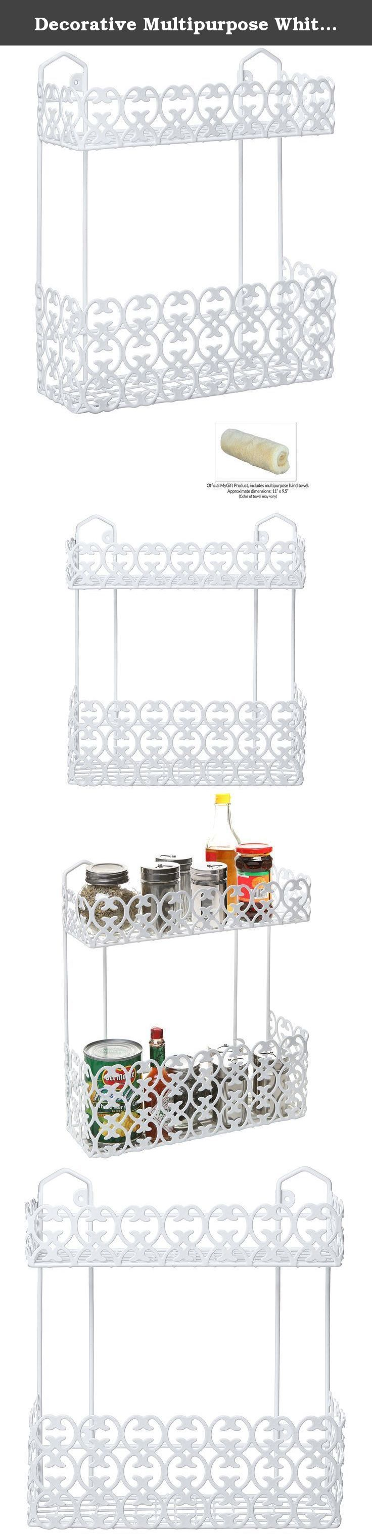 Decorative Multipurpose White Wall Mount 2 Tier Shelf Rack for Kitchen Spices / Bathroom Product Holder. Make organizing your everyday necessities simple with this decorative hanging storage rack. Made of sturdy white metal, this organizer features 2 tiers of shelf baskets, 1 large and 1 smaller, great for preventing clutter. Use in the kitchen to store spices and condiments, or hang in the bathroom for easy access to shampoo, soap, shaving cream and lotions. Mount onto the wall with the...