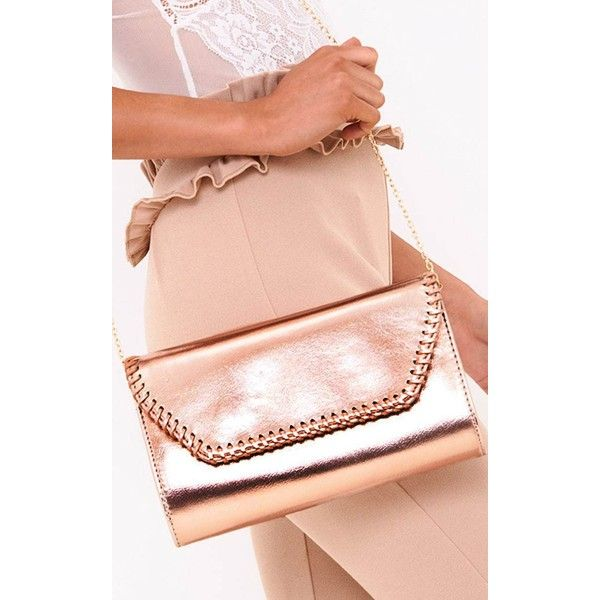 Rose Gold Stitched Edge Clutch Bag ($26) ❤ liked on Polyvore featuring bags, handbags, clutches, pink, clasp handbag, magnetic clasp purse, magnetic purse, clasp purse and pink clutches