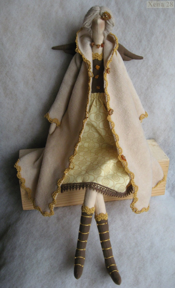 Christmas gift  eco fabric stuffed doll amber guardian by Xena28