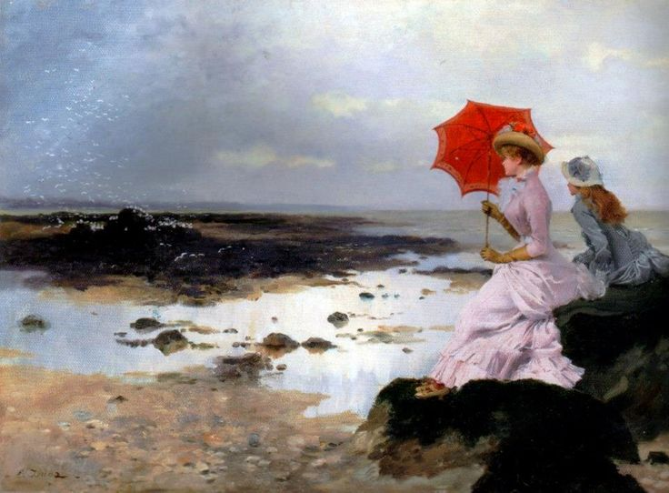 Au bord de la plage sur un rocher - Ernest-Ange Duez