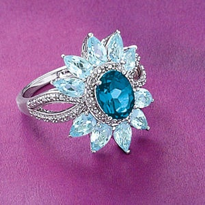 London and Sky Blue Topaz Sterling Ring