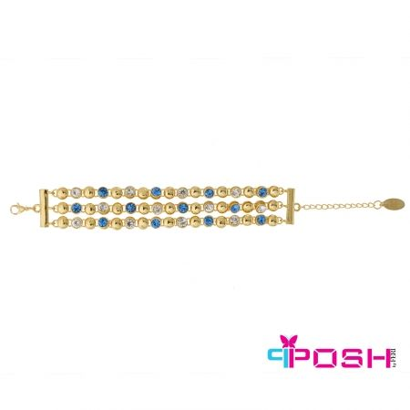 - Fashion bracelet - Gold toned bracelet - Gold toned beads with alternating white and blue stones - Lobster claw clasp with extension chain - Dimensions: 24 cm total length 2.25 cm width