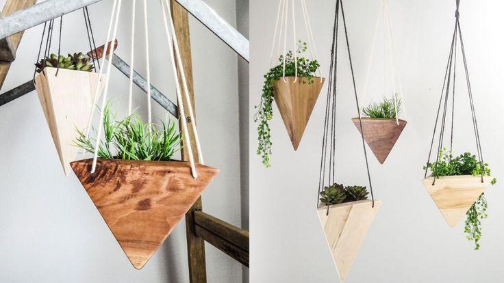 Macetas triangulares colgantes plantas pinterest for Decoracion de plantas en macetas