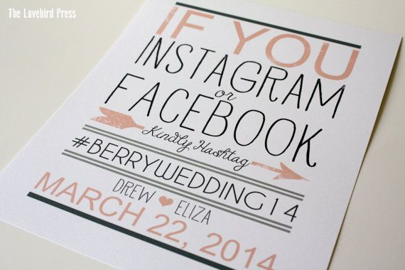 Instagram sign for weddings by The Love Bird Press from Etsy
