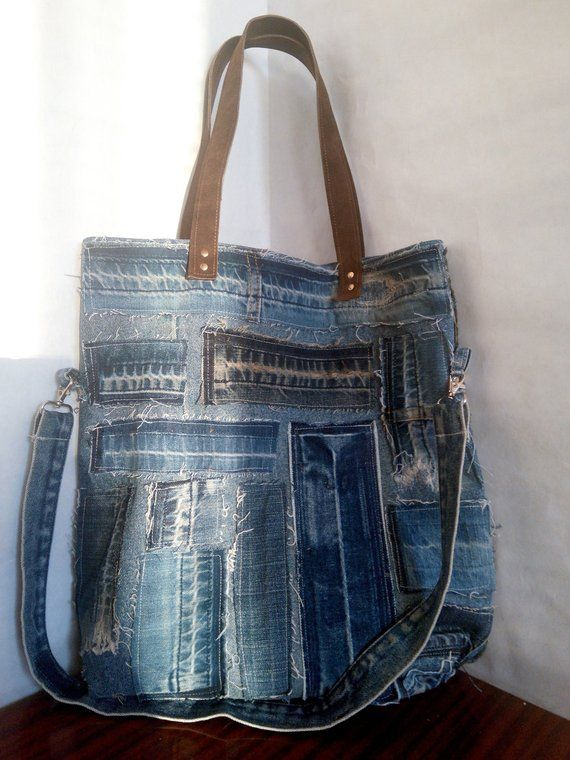 Hobo denim bag made from recycled jeans with pockets and lining. f4ce005c84507
