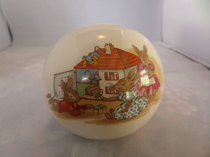 Royal Doulton, money box, Bunnykins money box, dolls house play, running rabbits, Peter Rabbit, MRV009, dated 1936, Bunnykins pottery, by MaddisonsRainbow on Etsy