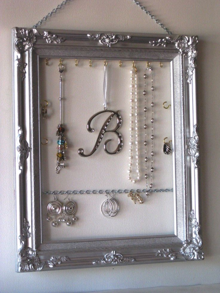 Silver Framed Hanging Jewelry Display and Organizer.