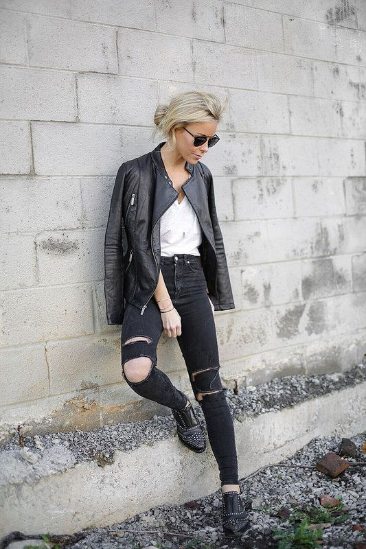 High waisted jeans are another sure fire way to achieve the rocker girl look. Mary Seng wears a ripped Nordstrom pair with edgy studded brogues and a thin leather jacket. Jeans: Nordstrom, Tee: Madewell, Jacket: Michael Kors, Brogues: French Connection.