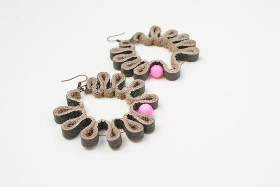 Loop earrings hoop earrings leather earrings grey by elfinadesign