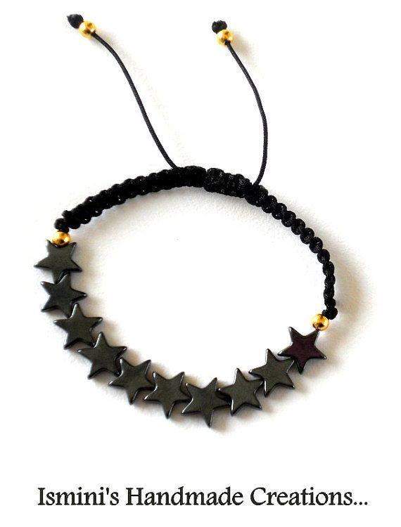 Macramé bracelet with hematite stars by IsminisJewelryStore