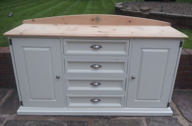 Gorgeous rustic farmhouse pine sideboard painted in Farrow and Ball white tie, by https://www.facebook.com/myfarmhousevintage