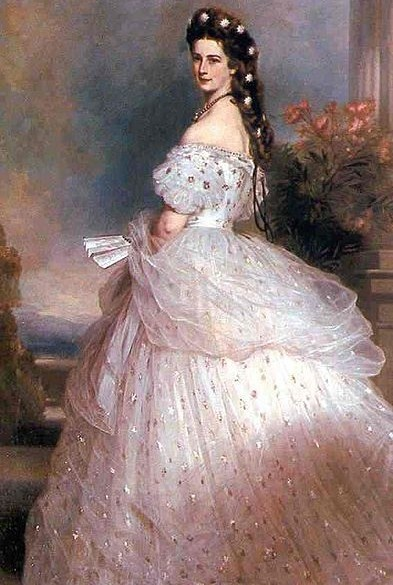 white gown Winterhalter Elisabeth in a charles worth Victorian gown