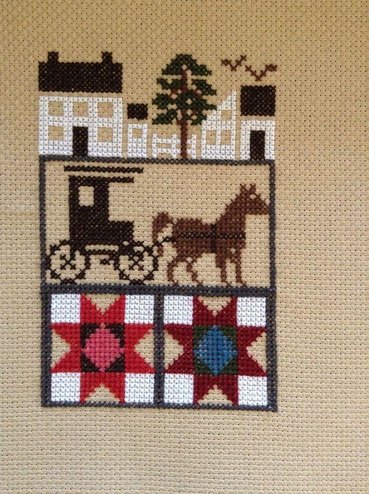 completed cross stitch prairie Schooler Amish quilt sampler