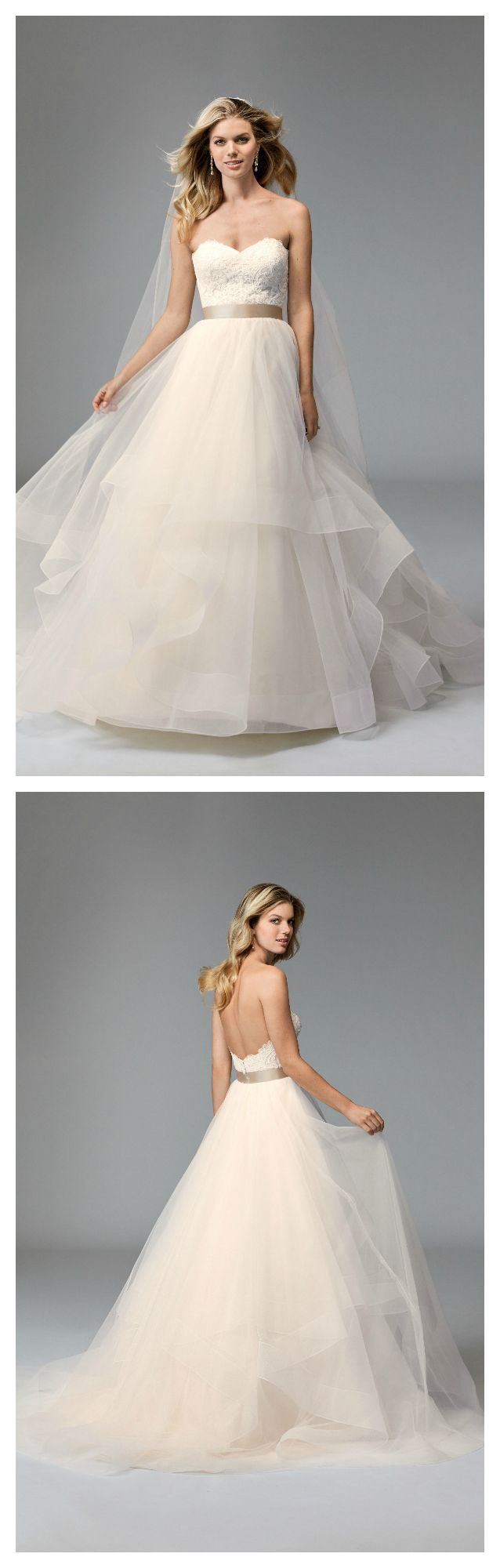 Rowena-horsehair ballgown by Wtoo is a lace corset bodice with a ribbon waist. The tulle ballgown skirt is layered with horsehair trim. Gown is reminiscent of the very popular Wtoo Agatha gown.