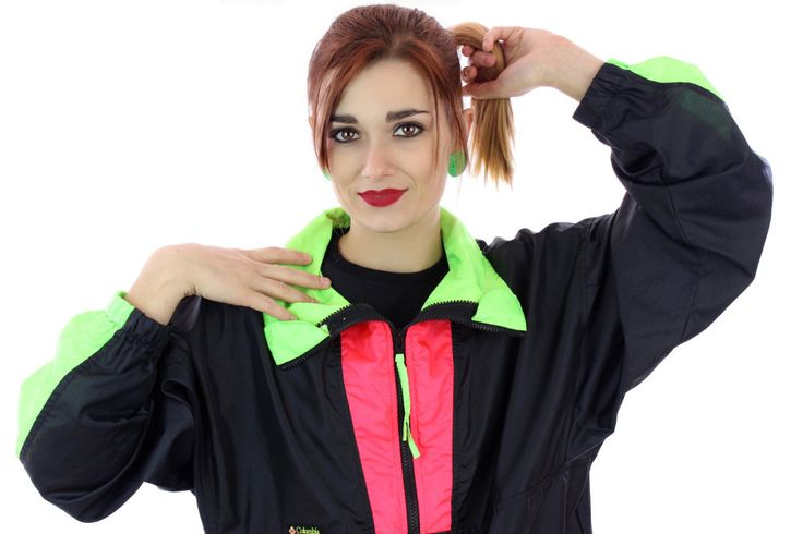 80s Colorblocked Windbreaker Jacket 90s Vintage Black Neon Green Red 1980s 1990s Colorblock Workout Running Surf Unisex Mens Womens Large L by neonthreadsdesigns on Etsy