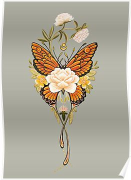 'Tattoo Butterfly Peonies' Poster by Ruta Dumalakaite