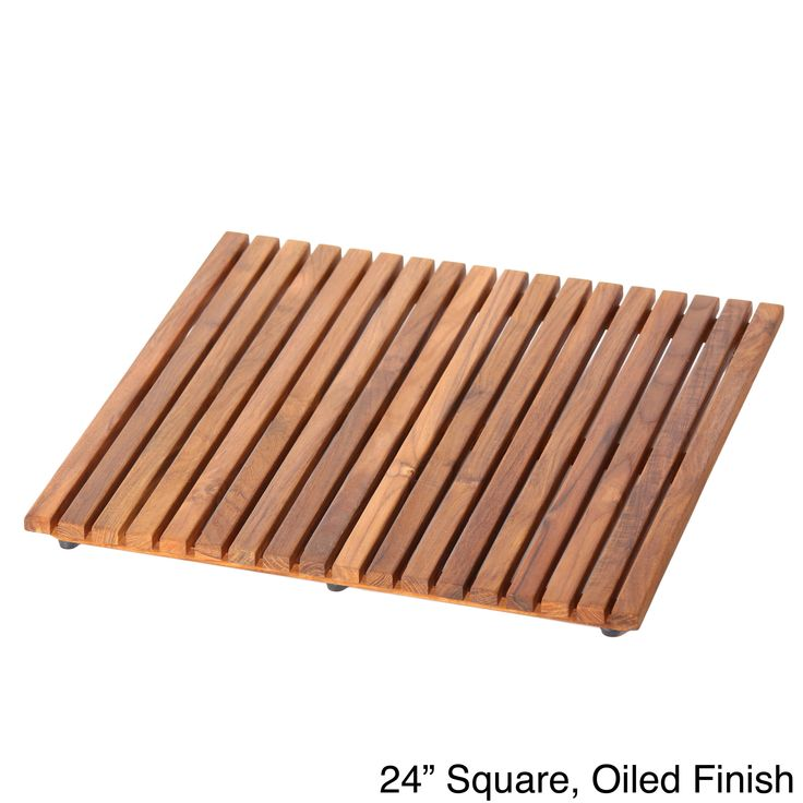 Hand-sanded teak wood makes up this beautiful floor mat. Available in natural or oiled finishes, this rich brown mat features a corrosion-resistant construction and non-slip rubber knobs on the bottom for safety.