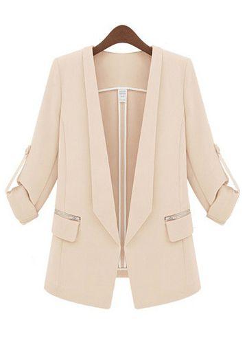 Beige Lapel Long Sleeve Slim Pockets Blazer - Sheinside.com