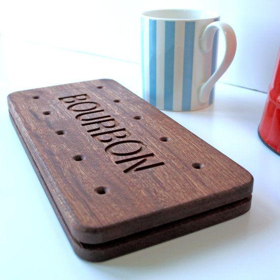 Bourbon Biscuit Wooden Serving Platter Board. Natural Coaster. on Etsy, $34.40