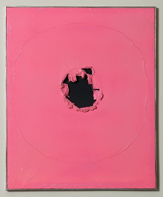 Lucio Fontana / Spatial Concept / 1962. His work in burning, scoring, cutting…