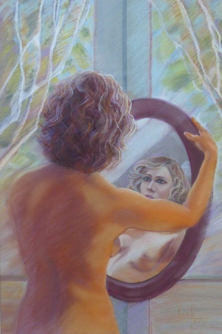 Miroir, pastel 70 x 50 cm