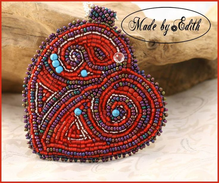Heart necklace, Red necklace, Bead embroidery necklace, by MadebyEdith on Etsy