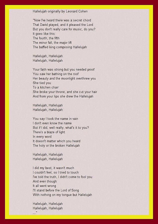 Lyric hallelujah square lyrics : 52 best Favorite Lyrics images on Pinterest | Music lyrics, Song ...