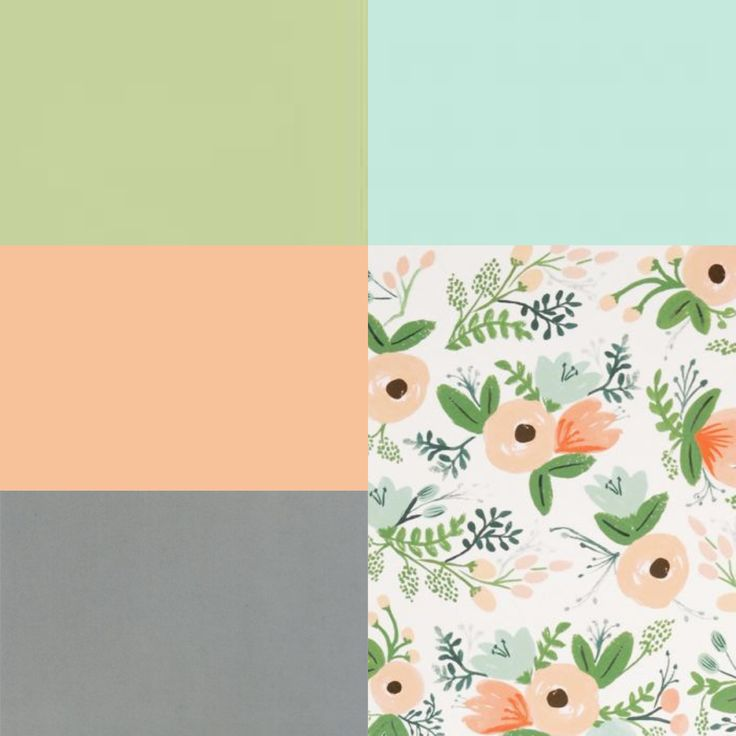 Bedroom Color palette inspiration - peach, green, blue and gray