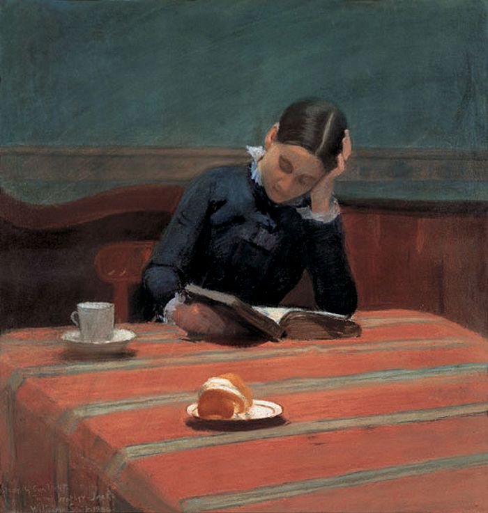 "William Stott of Oldham (British, 1857-1900) - ""CMS [Christina Mary Stott, the artist's wife] reading by gaslight"", 1884 - Pastel on paper - Private collection"