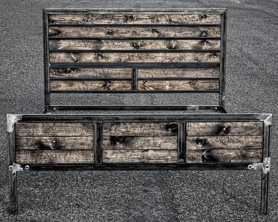 Rustic Industrial Bed Frame by AMIndustrial on Etsy